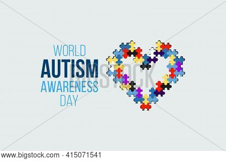 Autism Awareness Day. Multicolored Puzzle Heart Sign. Healthcare Concept. Vector Illustration On Whi