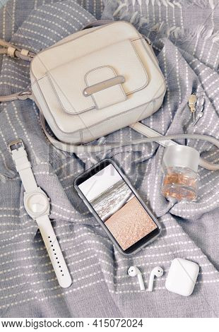 Woman Fashion Trendy Stylish Pastel Colors Accessories Set. Flat Lay, Top View.