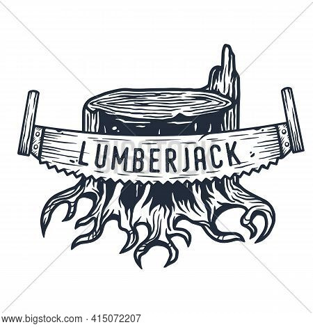 Lumberjack Wood Timber Stump With Roots And Saw