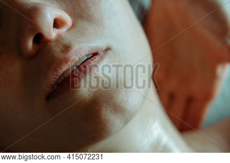 Relaxing Massage. Spa Treatments For Face. Close-up Of Cosmetic Procedures. Woman Enjoying Massage.