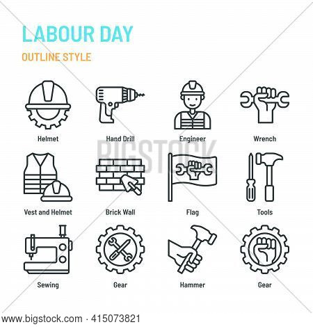 Labour Day In Outline Icon And Symbol Set