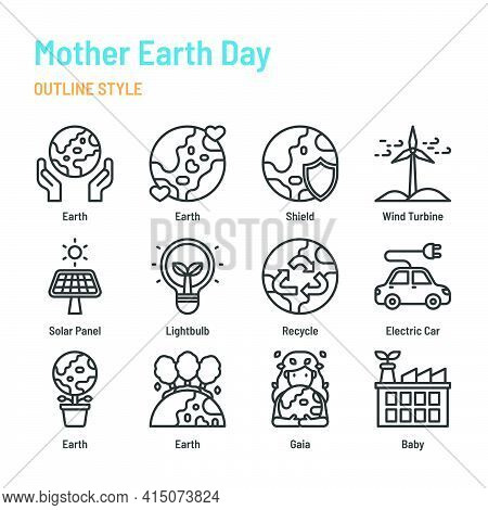 Mother Earth Day In Outline Icon And Symbol Set