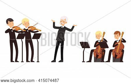 Symphonic Orchestra Playing Classical Music Performing On Stage, Conductor And Musicians Playing Vio