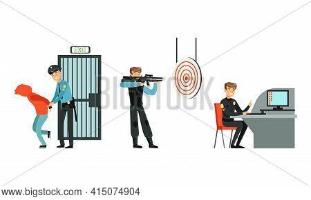 Policeman In Uniform Working At Police Station Set, Police Officer Arrested Criminal, Detective Inve