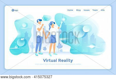 Virtual Augmented Reality. Innovation Technology. Man And Woman Wearing Vr Headsets Look Into The Vi