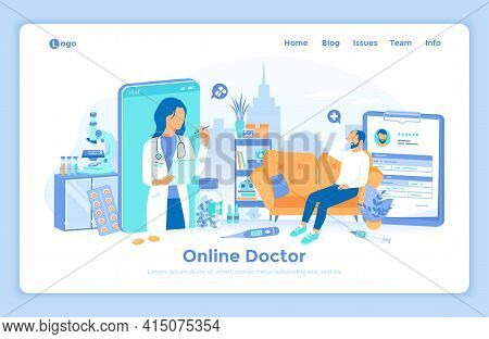 Online Doctor Consultation. Medicine Service, Healthcare Application. Virtual Examination And Diagno