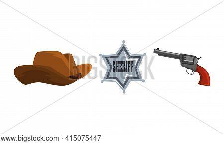 Wild West Symbols Set, Brown Cowboy Hat, Sheriff Star Badge, Vintage Revolver Gun Cartoon Vector Ill