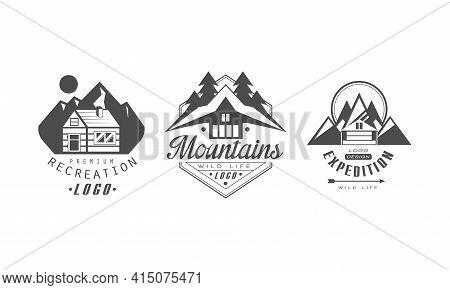 Recreation Premium Logo Design Templates Set, Mountain Expedition Monochrome Retro Badges Cartoon Ve