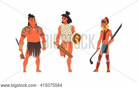 Set Of Aboriginal Or Indigenous Warriors, Men Dressed In Ethnic Clothes With Weapon, Representatives