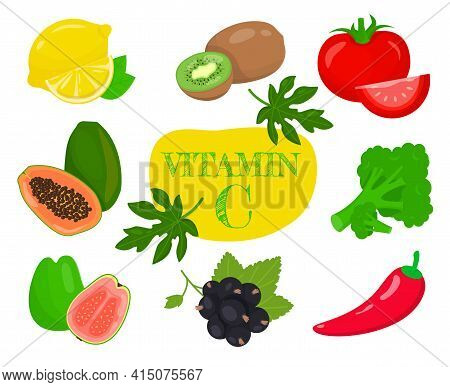Fruits And Vegetables Highest In Vitamin C. Nutrition And Healthy Eating Concept