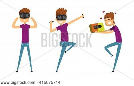 Young Man In Virtual Reality Headset Set, Guy Wearing Vr Helmet Playing Video Games, Doing Sports An