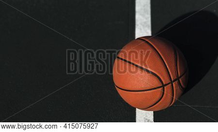 Close Up Basketball Court. High Quality And Resolution Beautiful Photo Concept