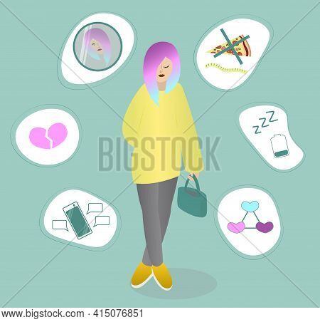 Teenager And Problems. Girl With Multicolored Hair Thinking About Her Troubles. Young Woman In Despo