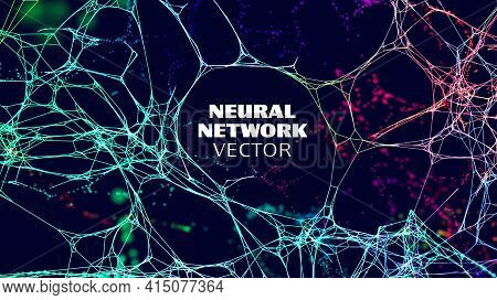 Neural Network Artificial Intelligence Vector Background. Machine Network Neurons. Blockchain Databa