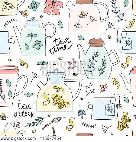 Herbal Tea Seamless Pattern. Doodle Teapot, Cup, Teabag, Flowers In Cute Hand Drawn Background.