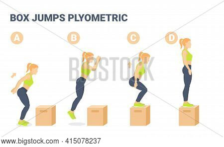 Box Jumps Female Home Workout Exercise Guidance Colorful Concept. Young Woman Posing In Sportswear.