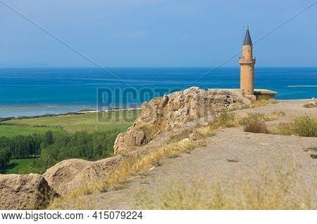 Van, Turkey, 08.26.2014: Panoramic View Of Mosque In Van Castle. Minaret And Lake Van In The Backgro