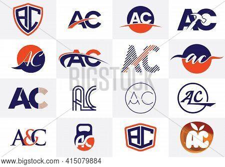 A C Letter Logo Design. Creative A C Letters Icon Set