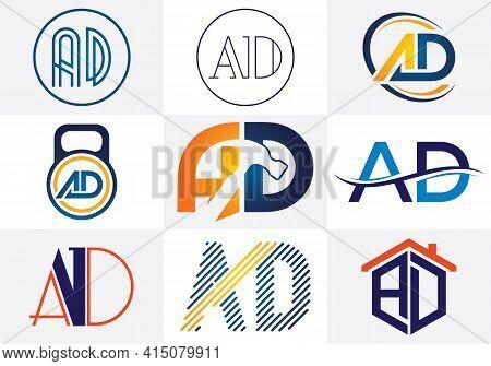 A D Letter Logo Design. Creative A D Letters Icon Set