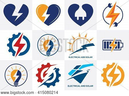 Electricity Logo Template Lighting Bolt Sign Symbol. Icon Set
