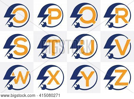 Electricity Logo Template Lighting Bolt Sign Symbol. Icon Set