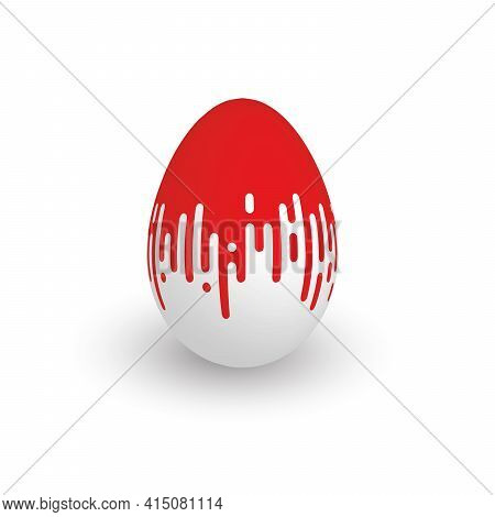 Easter Egg With Red Dripping Paint. 3d Isolated Realistic Vector Object With Dropped Shadow.