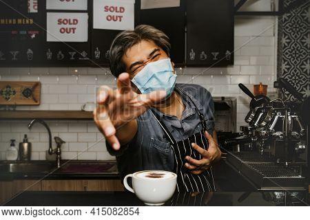 Frail Asian Man Wearing A Mask Working In A Coffee Shop Has A Sudden Heart Attack Seeking Help : Obe