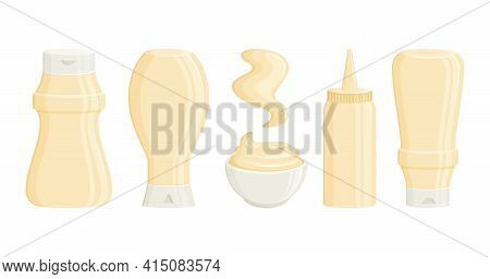 Mayonnaise Vector Bottles, Sauce Jar And Bowl. 3d Cartoon Mayo Packaging And Stain. 3d Cartoon Mayo