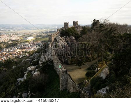 Panorama View Of Medieval Historic Moorish Castle Ruins Fortress Fortification Of Castelo Dos Mouros