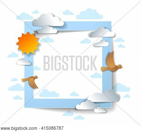 Birds Flying In The Sky Among Beautiful Clouds And Sun, Background Or Frame With Copy Space For Text