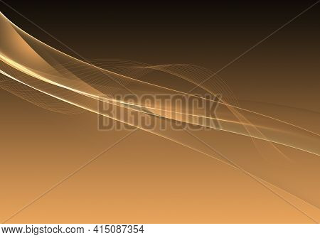 Abstract Background Waves. Black And Chamois Abstract Background For Wallpaper Or Business Card