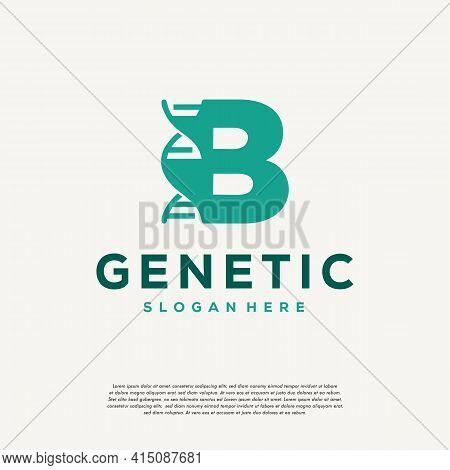 Dna Helix Letter B Logo Designs, Genetics Vector Design, Chromosome Initial Logo Template