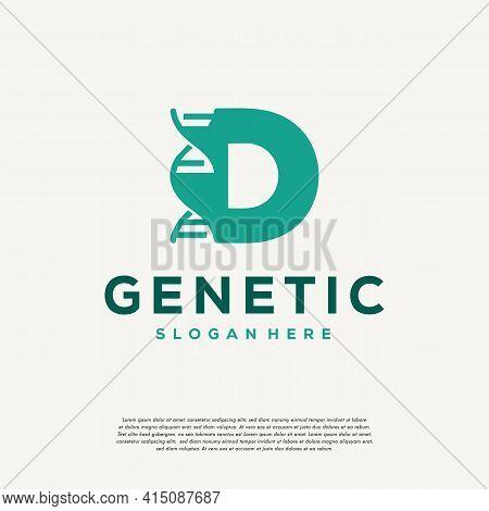 Dna Helix Letter D Logo Designs, Genetics Vector Design, Chromosome Initial Logo Template
