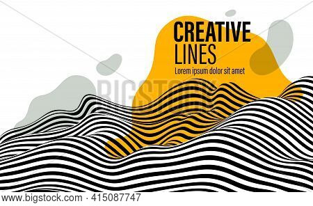 Abstract Vector 3D Lines With Yellow Fluid Splat Background, Black And White Curves Linear Perspecti