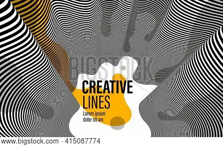 3D Black And White Lines In Perspective With Yellow Fluid Liquid Paint Splat Abstract Vector Backgro