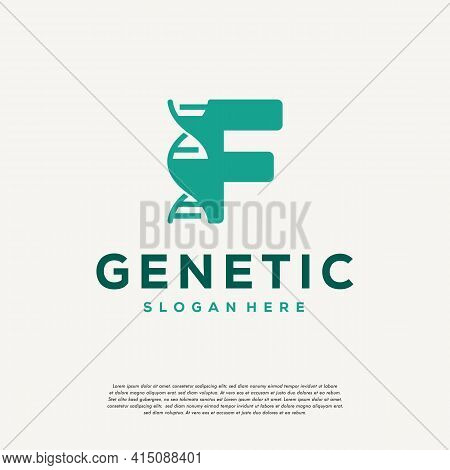 Dna Helix Letter F Logo Designs, Genetics Vector Design, Chromosome Initial Logo Template