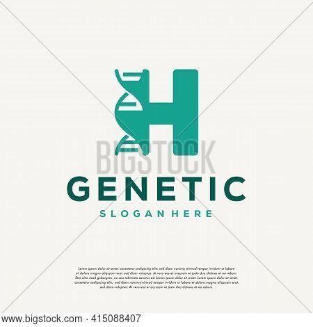 Dna Helix Letter H Logo Designs, Genetics Vector Design, Chromosome Initial Logo Template