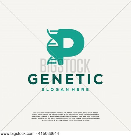 Dna Helix Letter P Logo Designs, Genetics Vector Design, Chromosome Initial Logo Template