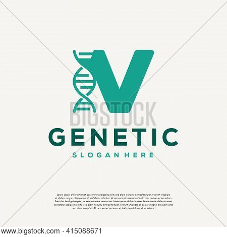 Dna Helix Letter V Logo Designs, Genetics Vector Design, Chromosome Initial Logo Template