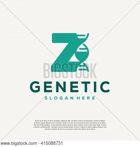 Dna Helix Letter Z Logo Designs, Genetics Vector Design, Chromosome Initial Logo Template
