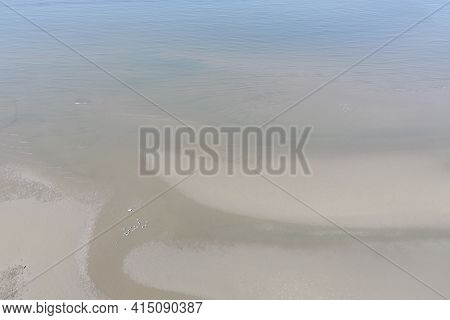 Aerial Image From Drone Of Beautiful Sand Beach With Seagull