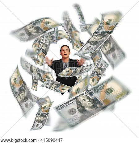 A Man In A Business Suit Grasps For Hundred Dollar Bills That Swirl Overhead In This 3-d Illustratio