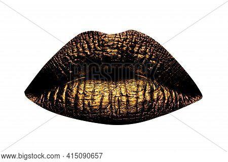 Golden Lips Closeup Isolated On White. Gold Metal Lip. Beautiful Makeup. Golden Art Lip Gloss On Bea
