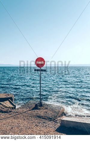 The Movement Of Vehicles Is Prohibited. Road Sign At The Exit From The Road To The Seashore. Prohibi