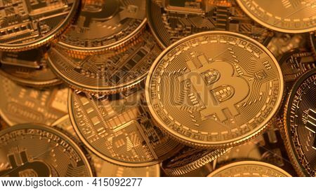 Bitcoin Virtual Cryptocurrency. Bitcoins Background, Banner. A Lot Of Bitcoin Crypto Currency Gold B