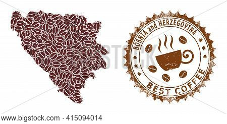 Mosaic Map Of Bosnia And Herzegovina From Coffee And Scratched Mark For Best Coffee