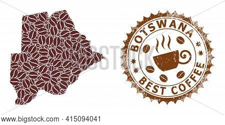 Mosaic Map Of Botswana Of Coffee And Textured Award For Best Coffee