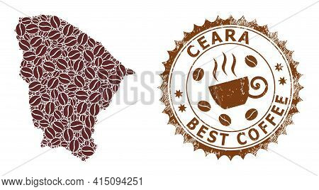 Mosaic Map Of Ceara State Of Coffee Beans And Textured Seal For Best Coffee