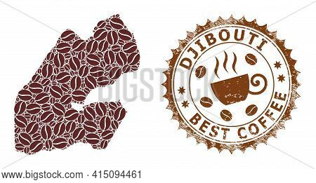 Mosaic Map Of Djibouti With Coffee Beans And Distress Award For Best Coffee