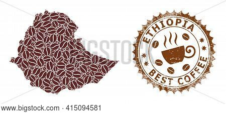 Mosaic Map Of Ethiopia With Coffee And Textured Badge For Best Coffee